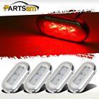 4) Clear/Red Marine Boat LED Oblong Courtesy Light Stair Deck Garden Light