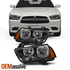 Fit 2011 2013 2014 Dodge Charger Halogen Type Black Headlights Replacement