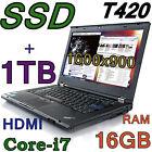 "Fast Lenovo Thinkpad T420 i7-2.80GHz (256GB SSD + 1TB) 16GB 14"" HD+1600x900 HDMI"