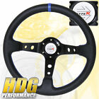 350MM PVC Leather Black Blue Deep Dish 6 Bolt Steering Wheel JDM Type R Horn