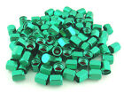 FREE SHIPPING 100PCS. GREEN ALUMINUM TIRE TYRE AIR DUST VALVE STEM HEX CAPS.