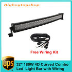 """32"""" 180W 4D Curved Led Work Light Bar Offroad Jeep SUV Boat 4WD Lamp with Wiring"""