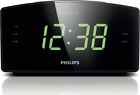 New Philips AJ3400 Digital Tuning FM w Pre-set, Dual Alarm Clock Radio Black