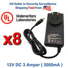 8x AC to DC Power Adapter 12V DC 3 Amper 3000mA Power Supply/ UL Certified