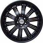 Set of 4 GWG Wheels 20 inch Black with Black Inserts NARSIS 20x8.5 Rims 5x110
