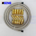 AN6 AN -6 Stainless Steel Braided Oil Fuel Line Hose End Fittings Kit 3M 45°+0°