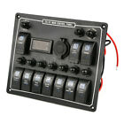 10 Gang Car Boat Marine Rocker Switch Panel Headlight Digital Voltage Meter