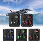 Car Marine Boat 3-Gang Waterproof LED Voltemeter Rocker Switch Panel Breaker New