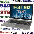 (3D-Design!! FHD) HP 8570p i7-3.0GHz (480GB-SSD + 2TB & 16GB) Radeon 15.6 Webcam