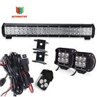 """hummer 20""""inch LED Light Bar + 18W Cube pods + 3lead Harness Remote Wiring Kits"""