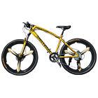 High carbon steel 24 speed Double Disc Brake 3 Spokes Wheel Mountain Bike,26''.