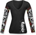 NEW LETHAL THREAT Women's Long-Sleeve V-Neck T-shirt