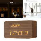 2 Function LED Digital Alarm Clock Display Temperature Date&Time In Wood Shape