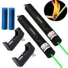 2x Powerful 10Mile Green Laser Pointer Pen 5mw 532nm Burning Laser+Batt+Charger