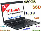 "TOSHIBA Portege R930 i5-3340M 13.3"" (480GB SSD 16GB-RAM) USB 3.0 Webcam HDMI BT"