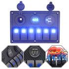 6 Gang LED Rocker Switch Control Panel Dual USB Circuit Breaker Car Marine Boat