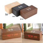 5V Wood LED Digital Alarm Clock Voice Control Temp Wireless Charger for Phone