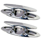 2 Pack of 6 Inch Flush Mount Stainless Steel Pull Up Boat Cleats