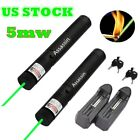 2PC Powerful Green Laser Pointer Pen 5mw 532nm Burning Laser Pen+Battery+Charger
