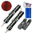 2PC 10Miles 2in1 Powerful Red Laser Pointer Pen 5mw 650nm Belt clip+Batt+Charger