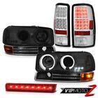 2000-2006 Yukon Headlamps Angel Eye Bumper Signal LED Tail Lights Wine Red Third
