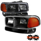99-07 GMC Sierra Truck Euro Black Housing Headlights Crew Cab Single Exten
