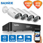 SANNCE Real 1080P HD PoE 4CH NVR In/Outdoor IP Cameras CCTV Home Security System