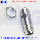 AN8 -8 AN to AN-8 Straight Male Alloy Bulkhead Flare Fitting Adaptor+Nut Silver