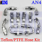 AN4 4AN AN -4 hose End fitting For PTFE Teflon e85 oil fuel line KIT 10PCS SILVE