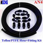 AN4 AN -4 4-AN PTFE Teflon oil gas Line E85 Fuel Hose+fitting adaptor 10M/32.8FT