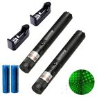 2PC 10Mile Powerful Green Laser Pointer Pen 5mw 532nm Star Cap+Battery+Charger