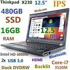 """Thinkpad X230 12.5"""" IPS i7-3520M 480GB SSD 16GB USB-3.0 Backlit Doking-DVDRW"""