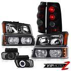 Pair Black Headlamp Bumper Parking Tail Light DRL LED Fog 2003 2004 Silverado