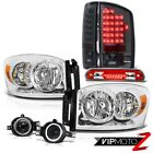 07 08 Ram ST Pair Chrome Headlights LED Taillights Projector Fog Red Third Brake