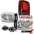 07 08 Dodge Ram Chrome Headlamps Wine Red LED Taillights Projector Euro Fog Stop