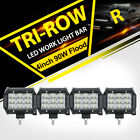 "4x TRI-ROW CREE 4""inch 90W LED Work Light Bar Flood Offroad UTV Polaris RZR XP1K"