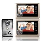 """7"""" Video Door Phone Doorbell Intercom System Kit 1-Camera 2-Monitor Night Vision"""