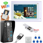 "7"" TFT Wired / Wireless Wifi RFID Video Door Phone Doorbell+Electric Strike Lock"