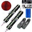 2PC Cat Toy Red Laser Pointer Pen 5mw 650nm 10Miles Laser Belt clip+Batt+Charger