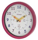 UNITY CHILDREN'S BEDROOM NURSERY TELL LEARN THE TIME WALL CLOCK IN PINK GIRLS