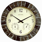 Indoor/Outdoor Clock With Thermometer & Hygrometer, Faux Slate, 14-In.