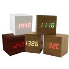 Popular Modern Cube Wooden Wood Digital LED Desk Voice Control Alarm Calendar