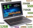 """(3D-Design HD+) DELL E6420 i7-2.7GHz (256GB-SSD + 750GB 12GB) nVIDIA 14"""" Backlit"""
