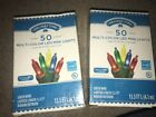 Two Sets New Holiday Time 50 Multi-Color LED Mini Lights, Green Wire -- NIB