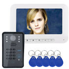 "7"" LCD RFID Password Video Door Phone Intercom Doorbell 1000 TV Line Camera"