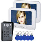 "7"" LCD 2 Monitors RFID Password Video Door Phone Intercom Doorbell 1000 TV Line"