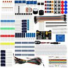 Basic Kit With Breadboard Jumper wires Color Led Resistors Capacitor Buzzer New