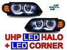 DEPO LED Angel Xenon HID Headlight+Clear Amber Corner Light For 02-05 BMW E46 4D