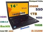 """SLIM Thinkpad T430s i5-3320M (DVDRW  256GB SSD + 1TB) 16GB 14"""" HD+  BACKLIT BT"""