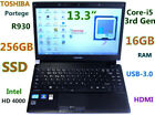 "TOSHIBA Portege R930 i5-2.7GHz 13.3"" (256GB SSD 16GB-RAM) USB 3.0 Webcam HDMI BT"